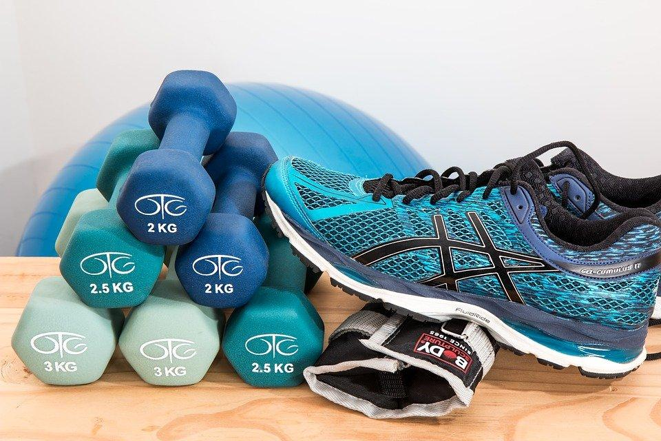 Dumbbells, Shoes, Sneakers, Rubber Shoes, Fitness, Gym